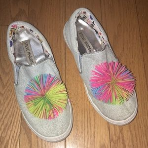 Steve Madden  Slip on pom-pom denim sneaker